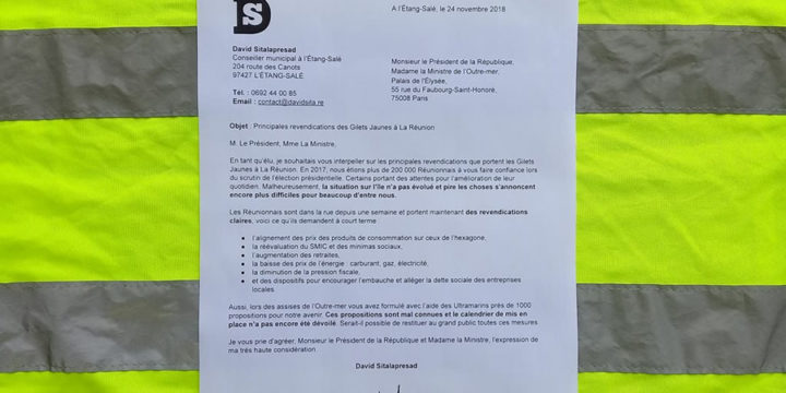 Courrier : principales revendications des Gilets Jaunes à La Réunion
